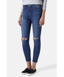 Topshop「Topshop Moto 'Jamie' High Rise Ripped Jeans (Blue) (Regular, Short & Long)(Denim pants)」