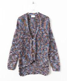 KBF「混色針織寬鬆開襟衫(Tops)」