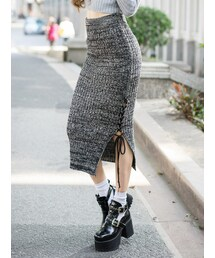 Shalexの「Knitted Pencil Skirt with Lace-Up Details(スカート)」