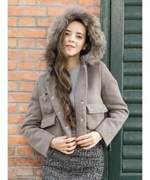 Shalexの「Shalex Detachable Faux Fur Hooded Coat(テーラードジャケット)」
