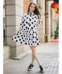 Shalexの「Polka Print Shirt Dress with Pleating(ワンピース)」