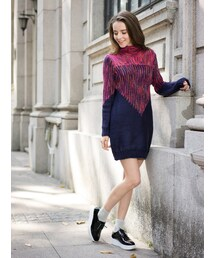 Shalexの「Fairisle Knit Dress with Roll Neck(ワンピース)」