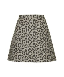 Topshop「A-line skirt in leopard print with lurex detail. 66% cotton, 33% polyester, 1% metallised fibres. wash with similar colours.(Skirt)」