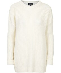 Topshop「Cream lofty ribbed knit sweater in a slouchy fit. 62% acrylic, 30% polyamide, 8% mohair. machine wash.(Knitwear)」