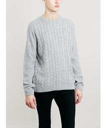 Topman「Grey/Ecru Twist Cable Crew Neck Sweater(Knitwear)」