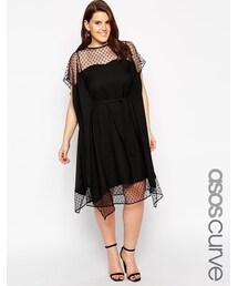 Asos「ASOS CURVE Kimono Dress with Dobby Mesh(One piece dress)」