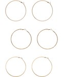 Forever 21 | FOREVER 21 Etched Hoop Set(ピアス(両耳用))