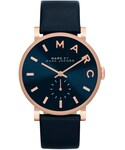Marc by Marc Jacobs | MARC by Marc Jacobs Baker Analog Watch with Leather Strap, Rose Golden/Navy(Watch)