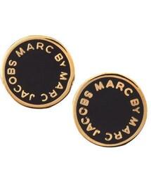 Marc by Marc Jacobs「MARC by Marc Jacobs Enamel Logo Disc Stud Earrings, Black/Golden(Pierces (both ears))」