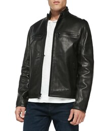 Andrew Marc New York「Andrew Marc Luxe Leather Moto Jacket, Black(Riders jacket)」