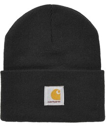 Carhartt「Carhartt. 100% acrylic. machine washable. Classic black beanie with logo patch on front(Hats)」