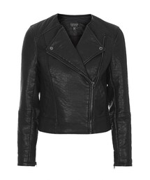 Topshop「Ultimate faux leather biker jacket with asymmetric zip front, zipped sleeves and side pockets. 100% polyurethane. dry clean only.(Riders jacket)」