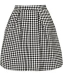 Topshop | Gingham looks all grown-up in this monochrome mini skirt style, detailed with box pleats and an exposed zip fastening to the back. length - 42cm. 57% cotton, 40% polyester, 3% elastane. machine wash.(Skirt )
