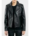 Topman | Selected Homme Black Leather Biker Jacket(Riders jacket)