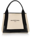 Balenciaga | Balenciaga Cabas S leather-trimmed cotton-canvas tote(トートバッグ)