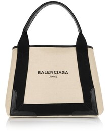 Balenciaga「Balenciaga Cabas S leather-trimmed cotton-canvas tote(Tote)」