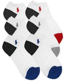 Ralph Lauren「Ralph Lauren Boys' or Little Boys' 6-Pack Color-Blocked Ped Socks(Socks)」