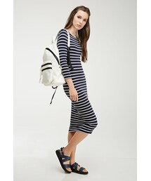 Forever 21「FOREVER 21 Striped Stretch-Knit Midi Dress(One piece dress)」