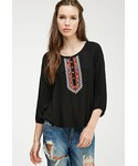 Forever 21「FOREVER 21 Embroidered Peasant Top(Shirts)」