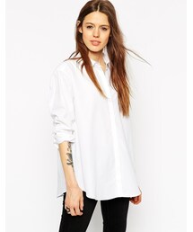 Asos「ASOS COLLECTION ASOS Oversized Boyfriend Shirt With Curved Hem(Shirts)」
