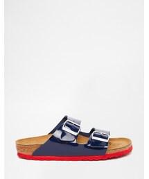 Birkenstock「Birkenstock Arizona Navy Patent Slide With Pink Trim(Sandals)」
