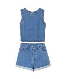 GraceGift(グレースギフト)の「夏日沙灘牛仔無袖上衣X捲邊短褲套組(その他)」
