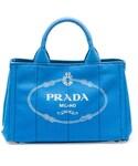 Prada | Prada Canvas Mini Logo Tote with Strap, Cobalt Blue (Azzuro)(トートバッグ)