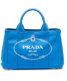 Prada「Prada Canvas Mini Logo Tote with Strap, Cobalt Blue (Azzuro)(Tote)」