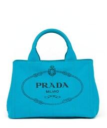 Prada「Prada Canvas Mini Logo Tote with Strap, Turquoise (Pavone)(Tote)」