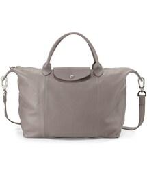 Longchamp「Longchamp Le Pliage Cuir Tote Bag with Strap, Gray(Shoulderbag)」