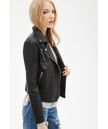 Forever 21「FOREVER 21 Zippered Faux Leather Moto Jacket(Riders jacket)」