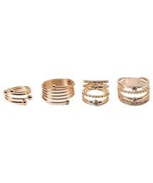 Forever 21「FOREVER 21 Rhinestone Stacked Midi Ring Set(Ring)」