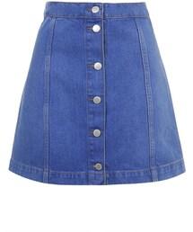 Topshop「Moto bright blue button front a-line skirt(Skirt)」