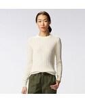 ユニクロ | WOMEN コットンカシミヤケーブルクルーネックセーター(長袖)(ニット・セーター)