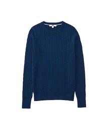 ユニクロ(ユニクロ)の「WOMEN コットンカシミヤケーブルクルーネックセーター(長袖)(ニット・セーター)」