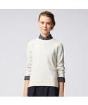 ユニクロ   WOMEN コットンカシミヤクルーネックセーター(長袖)(ニット・セーター)