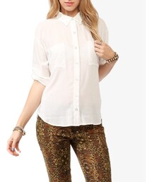 Forever 21「FOREVER 21 Button Up Pocket Blouse(Shirts)」