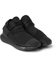 Y-3(ワイスリー)の「Qasa Leather-Trimmed Neoprene High-Top Sneakers(シューズ)」