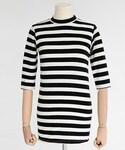 DHOLIC | ハーフハイネックスリムフィットボーダートップス(Tシャツ・カットソー)