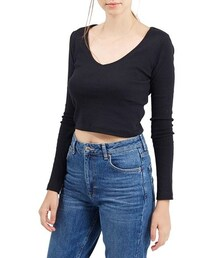 Topshop「Topshop V-Neck Crop Sweater(Knitwear)」