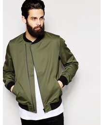 Asos「ASOS BRAND ASOS Bomber Jacket With Asymmetric Zip In Green(Tailored jacket)」