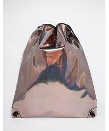 Asos「ASOS BRAND ASOS Drawstring Backpack In Metallic Finish(Backpack)」