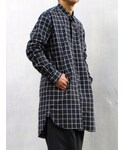 Sise | Sise SJ-14A-SH07 Long Shirt (CHECK) BLACK(シャツ・ブラウス)