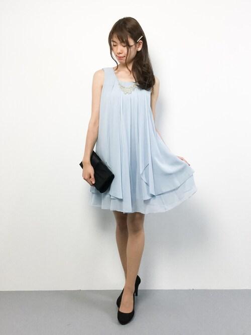 ZOZOTOWNmiyaseさんのドレス「ビジューネックレス付き2wayシフォンワンピース(Dorry Doll|ドリードール)」を使ったコーディネート