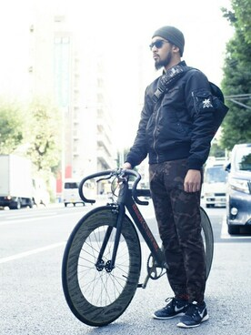 BACK CHANNEL (FLAGSHOP : BACKWOODS BOROUGH)|BACK CHANNELさんの「MA-1 JACKET(Back Channel)」を使ったコーディネート
