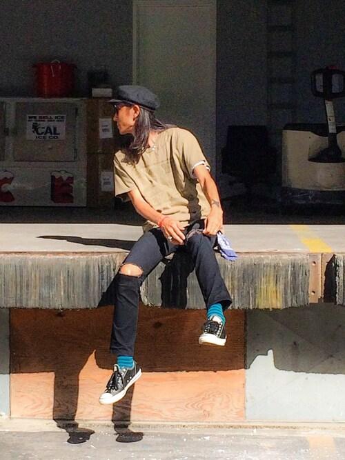 BENCH AT THE GREENERYOTA MIYOSHIさんのTシャツ/カットソー「BEN DAVIS BLACKOUT COLLECTION LOGO TEE(BEN DAVIS BLACKOUT COLLECTION|ベンデイビスブラックアウトコレクション)」を使ったコーディネート