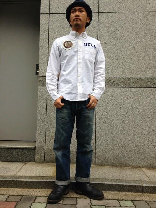 AVIREX 名古屋Urusidairaさんのデニムパンツ「AVIREX(アヴィレックス) 「TYPE BLUE(タイプブルー)」 ジェネラル BILLY レギュラーフィット (AVIREX|アヴィレックス)」を使ったコーディネート