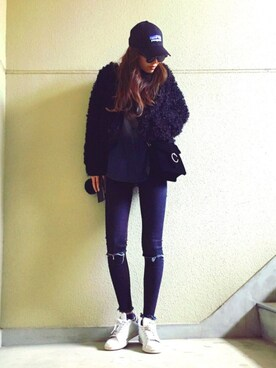M a y uさんの「iSKO EMOTION crash SKINNY(MOUSSY)」を使ったコーディネート