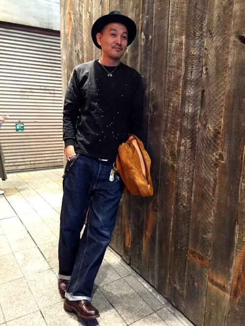 Schott Kobematsuuraさんのハット「Schott/ショット/FEDORA HAT/ フェドラ フェルトハット(NEW YORK HAT ニューヨークハット)」を使ったコーディネート