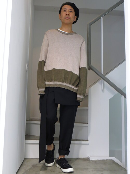 domowaさんの「Sise Sj-15SS-KN01 Prober Knit BEIGEPINK×KHAKI(Sise)」を使ったコーディネート